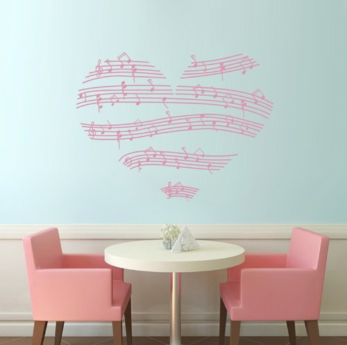 """23.4"""" X 35.4"""" Pink Wall Sticker Decals Music Notes Love Hearts Wall Art Vinyl Stickers Nursery Wall Decoration Wall Clings Bedroom Wall Decals front-801307"""