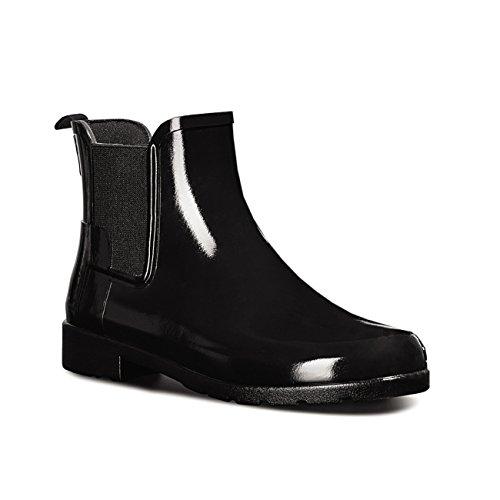 Womens Hunter Original Refined Chelsea Gloss Wellingtons Ankle Rain Boot - Black - 9 (Hunter Rain Boots Ladies compare prices)