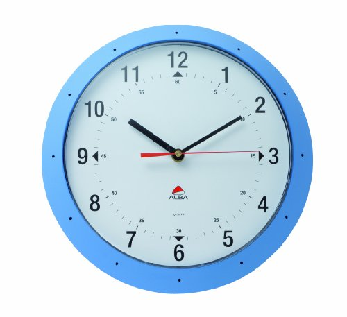 Alba Easytime Quartz Wall Clock Quartz, Plastic Lens and Case, Blue Frame, White Face (HORMURL)