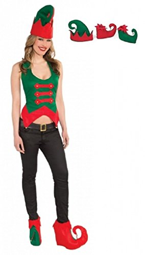 [Adult Elf Hat and Shoe Cover Set Christmas] (Elf Hats For Adults)