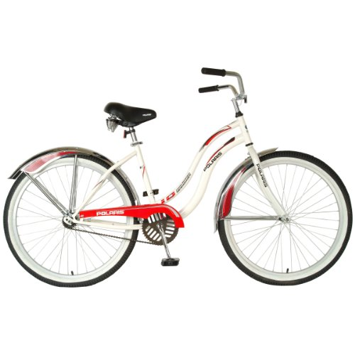 Polaris Ladies IQ Cruiser Bike (White/Red, 26 X 18-Inch)
