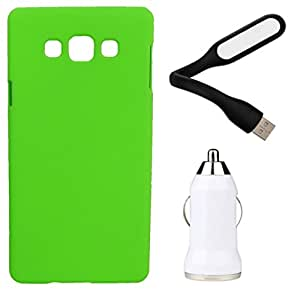 XUWAP Hard Case Cover With Car Charger & USB LED Light Samsung Galaxy Z3 - Green