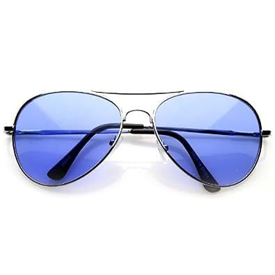 Aviator Fashion Sunglasses Silver Frame Blue Lens for Men and Women