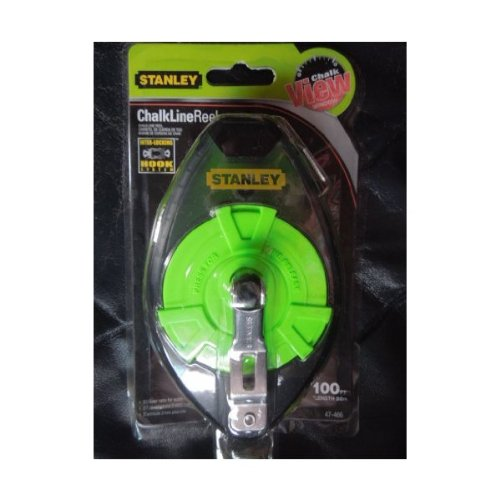 Stanley 100 Foot Chalk Line Reel with Chalk View Window and Interlocking Hook System.