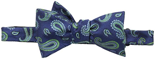 Countess Mara Men'S Jewel Paisely Self-Tie Bow Tie, Navy/Green, One Size