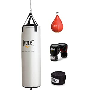 Buy Everlast Heavy Bag Boxing Training Kit 70 lb Punching Bag Gloves Hand Wraps + MORE New by Everlast