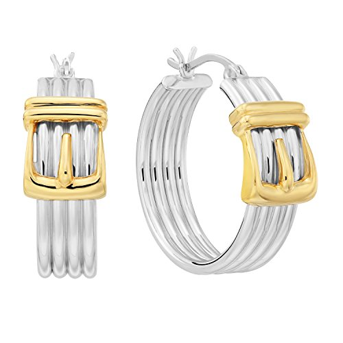 .925 Sterling Silver Two-Tone Belt Buckle Hoop Earrings (Silver Belt Buckle Ring compare prices)
