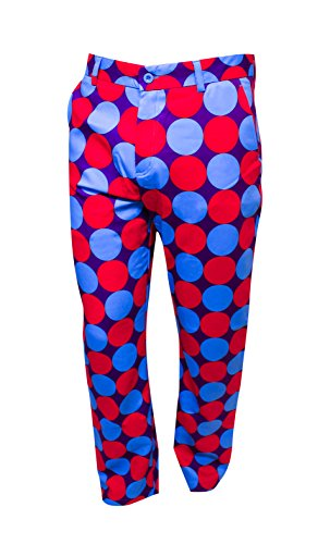 GOLF SALE!! POLKA- BEDLAM GOLF TROUSERS- COLOURFUL, WACKY AND FUN GOLF TROUSERS FOR GOLFERS 32R, 32L, 34R, 34L, 36R, 36L, 38R, 38L 40R, 40L