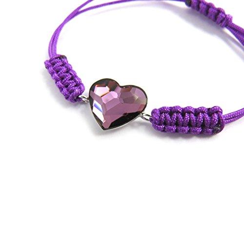Silber-armband 'Love'violett (swarovski