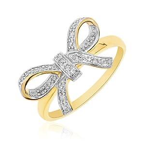 Bague Femme - Or jaune (9 Cts) 1.98 Gr - Diamant - T 59