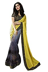 Pragati fashion Hub Yellow Faux Georgette Saree