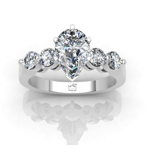 Palladium If You Like The Look Of Diamonds Without A Lot Of Metal This Shared Prong Engagement Setting Offers Just That With Four Gorgeous Round Brilliant Diamond Side Stones 5/8 Ctw. This Item Includes A Free Cubic Zirconia Center In The Shape Shown.