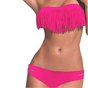 Hee Grand femmes bikini Sexy Maillot de Bain Fendu de Style Tassel Chinois S Pastššque Rouge