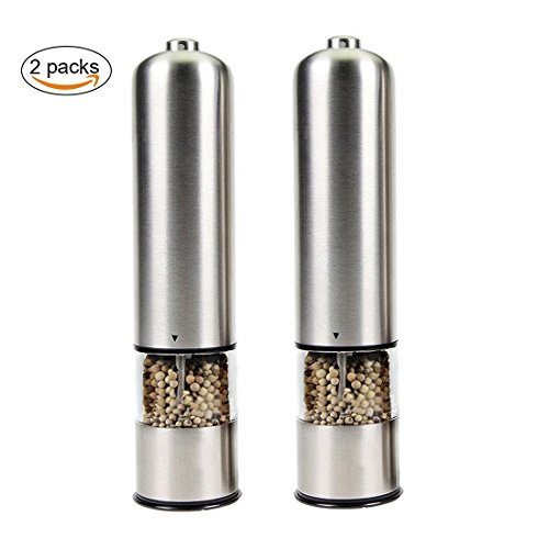 Joyoldelf 2pcs Electronic Salt & Pepper Mill Grinder Set Adjustable Grinder, Stainless Steel (Shaker Electronic compare prices)