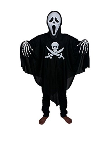 Moolecole Halloween Costume Cloak Adults Pirate Clothes/mask/gloves Set