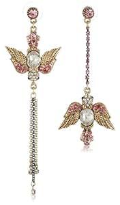 """Betsey Johnson """"Iconic Love Bird"""" Bird Mismatch Linear Drop Earrings"""