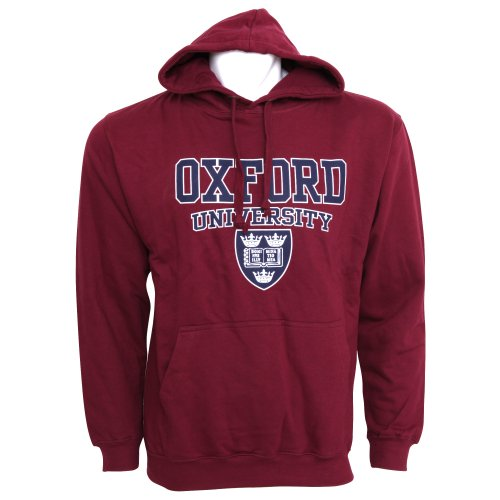Mens Oxford University Print Hooded Sweatshirt Jumper/Hoodie Top (L - 42inch - 44inch) (Maroon)