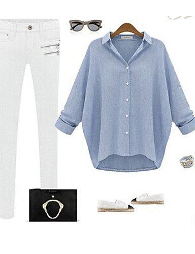 ZXR-femmes-de-Massif-Bleugris-pour-femme-col-chemise--manches-longues