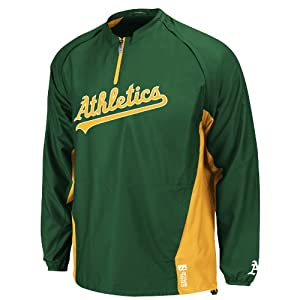 Buy Oakland Athletics Green Authentic Triple Peak Cool Base Convertible Gamer Jacket by Majestic by Majestic