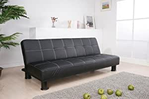 Black faux leather click clack futon sofa bed new for Sofa bed amazon uk