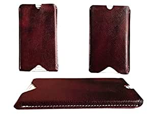 ATV Brown Genuine Leather Designer Pouch Case Cover For Lava Iris 400s