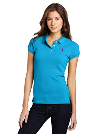 US Polo Assn. Juniors Solid Polo With Small Pony, Metal Turquoise/Purple, Medium