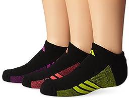 adidas Girls Cushion No Show Socks (Pack of 3), Black/Flash Pink - Semi Solar Yellow - Flash Red, Medium