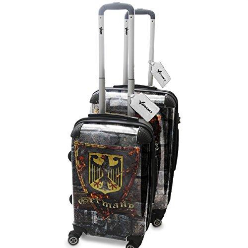 Blason Allemagne, 2 pièce Set Luggage Bagage Trolley de Voyage Rigide 360 degree 4 Roues Valise avec Echangeable Design Coloré. Grandeur: Adapté à la Cabine S, M