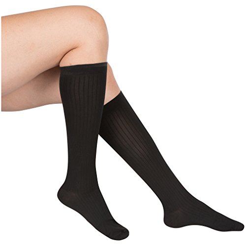 EvoNation Women's USA Made Graduated Compression Socks 15-20 mmHg Moderate Pressure Medical Quality Ladies Knee High Support Stockings Hose - Best Comfort Fit, Circulation, Travel (Large, Black) (Medical Ted Hose compare prices)
