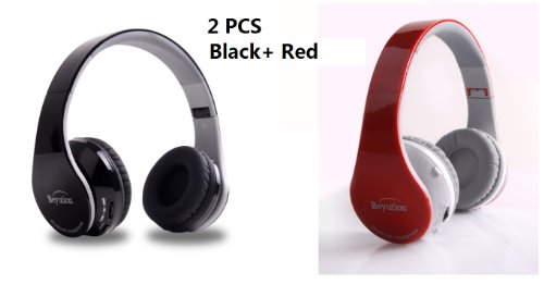 New Beyution@ Two Pcs(Black+ Red) Smart Wireless Bluetooth Headphone Black Color---For Apple/Sony/Samsung Galaxy/Microsoft/Amazon Kindle/Hipstreet/Lenovo/Nabi/Barnes & Noble Nook/Leapfrog/ Hp/ Toshiba/ Blackberry/ D2/ Razer/ Vtech/ Kaser/ Zeki And All Tab