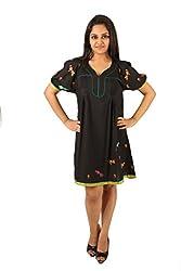 INDRICKA black colour Bio-silk (Modal) Tunic for womens.