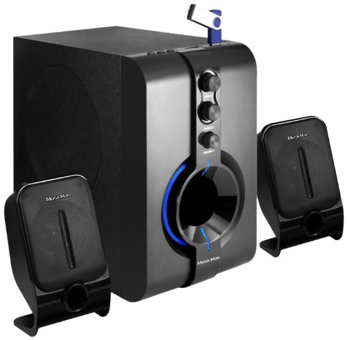 Musicman Easy-Blue 2.1 Surround System (integrierter Mp3 Player, 28 Watt RMS, Kartenslot, USB und Aux IN)