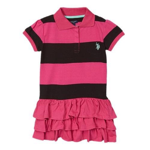 U.S. Polo Assn. Little Girls'Ruffled Stripe Polo Dress (6X, Pink Kite)