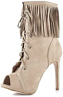 Chase and Chloe LUCY-1 Peep Toe Suede Lace Up Fringe Stiletto Heel ...