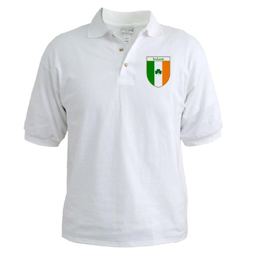 Cafepress Shamrock Irish Flag Shield Golf Shirt - L White front-507526