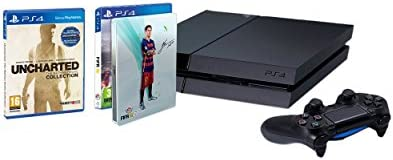 PlayStation 4 - Consola 1TB [CUH-1216B] + FIFA 16 con Steelbook (solo en Amazon) + Uncharted: The Nathan Drake Collection