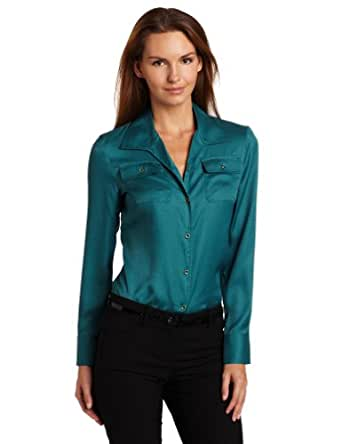 Jones New York Women's Long Sleeve Blouse, Crystal Teal, Small