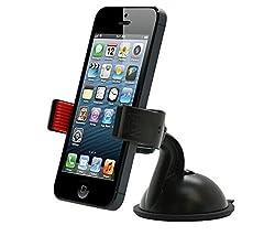 MicroNano Universal Dashboard Windshield Car Mount holder for Smart Phones, Apple iPhone 5 / 5S / 5C / 4 / 4S / 3G, Samsung Galaxy S2 / S3 / S4, Galaxy NOTE 2, Motorola Droid RAZR / MAXX, HTC EVO 4G, HTC One X, LG Revolution, GPS Holder (Black/Red)