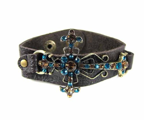 Burnish Gold Side Ways Cross Leather Bracelet With Turquoise Brown Rhinestones Snap Button Adjustable