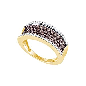 10kt Yellow Gold Womens Round Cognac-Brown Colored Diamond Band Fashion Ring (.75 cttw.)