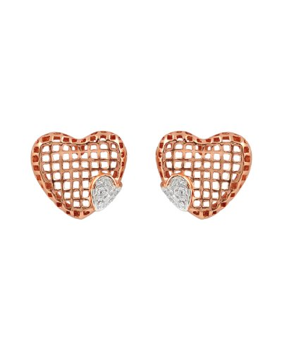 Cubic Zirconia and Lace Design Heart Shaped Earrings in Rose-Plated Sterling Silver