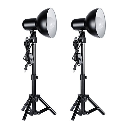 Neewer 2 Pieces 12W LED Photography Table Top Lighting Kit,includes:(2)Max Height 15