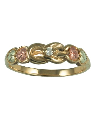 Womens 10k Yellow Gold, 12k Pink Gold, 12k Green Gold, Diamond Ring (.017 Cttw, IJ Color, SI1 Clarity), Size 5