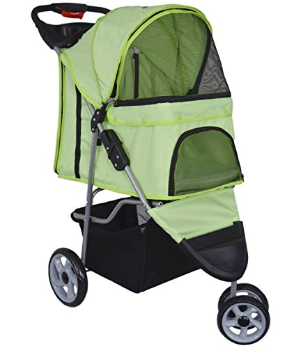 VIVO Three Wheel Pet Stroller, for Cat, Dog and More, Foldable Carrier Strolling Cart, Multiple Colors (Green)