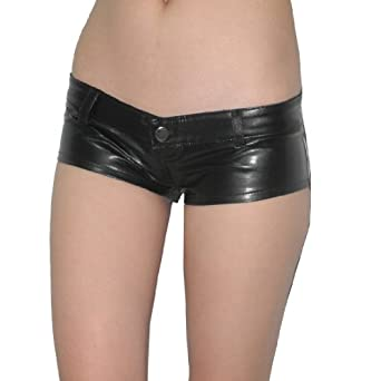 Womens Thai Exotic Low Rise Faux Leather Shorts at Amazon Women's