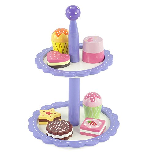18-inch Doll Food Accessories |8-piece Bakery Cupcake Tower - Hand Painted Wood | Fits American Girl Dolls (Doll French Bakery compare prices)
