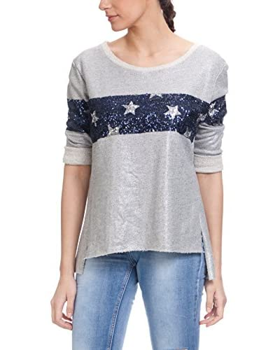 Tantra Jersey With Lurex And Stars Sequins Gris / Azul