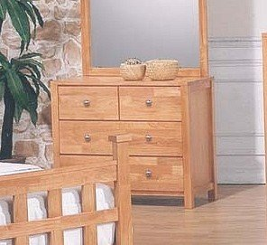 Natural Finish Wood Bedroom Storage Dresser w/4 Drawers