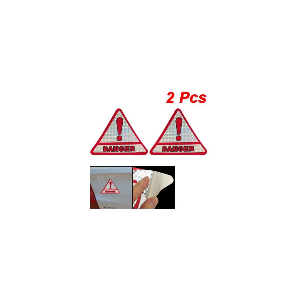 Amico Red Silver Tone Triangle Reflector DANGER Sign Sticker for Car