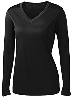 Ladies Long Sleeve Moisture Wicking Athletic Shirts Sizes XS-4XL